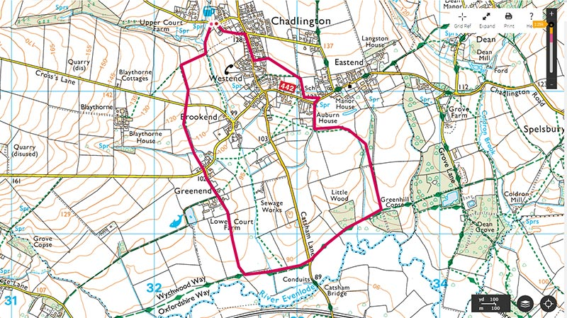 Map of circular walk, a shorter walk from The Tite Inn