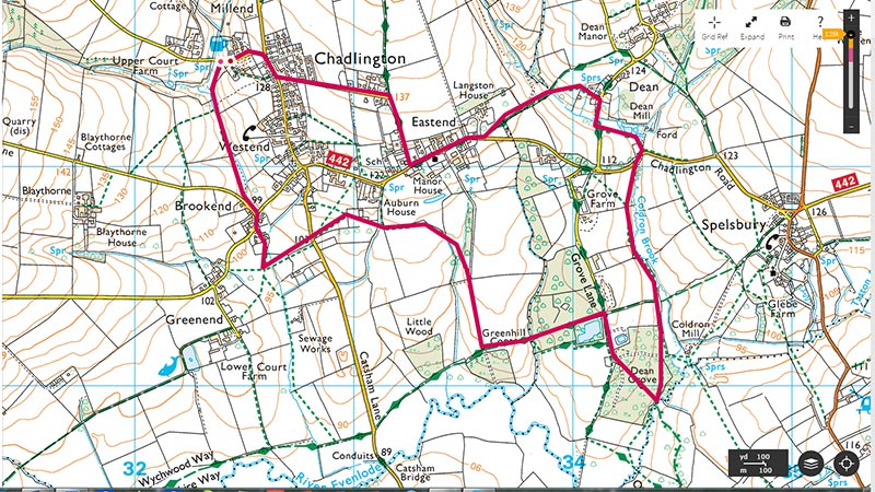 Map of circular walk to Dean Common